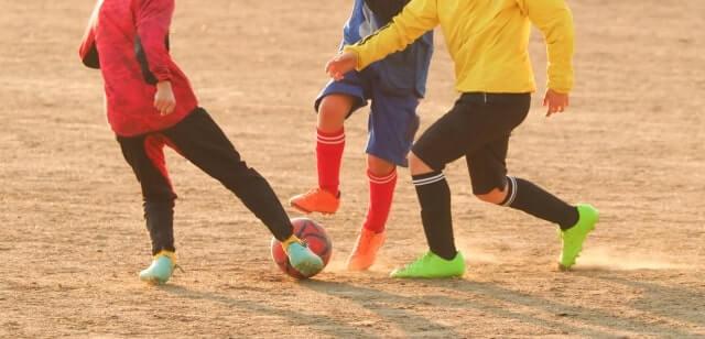 サッカーしている男子達